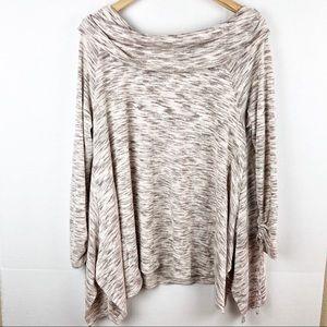 Knox Rose Cowl Neck Asymmetrical Sweater Top XL